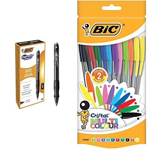 BIC Gelocity Original Caja de 12 bolígrafos gel, color negro + Cristal Multicolour Bolígrafos Punta Ancha (1,6 mm) – Colores Surtidos, Bolsa de 20 Unidades, ideal para dibujos y anotaciones