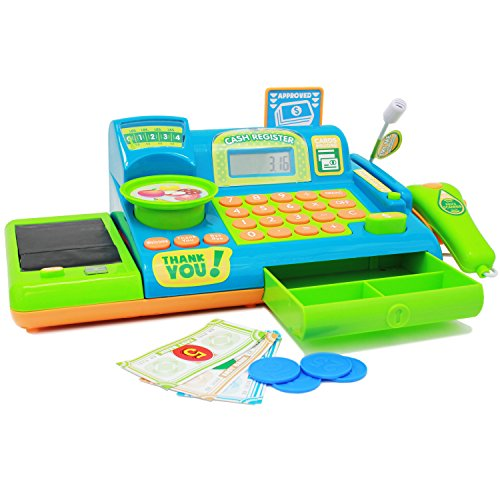 Boley Kids Toy Cash Register - Pretend Play Educational Toy for Kids, Children, Toddlers - Cash Register with Electronic Sounds, Play Money, Grocery Toys, Working Calculator, and More - Blue