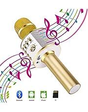Verkstar Bluetooth カラオケマイク ブルートゥース 高音質カラオケ機器 無線マイク ポータブルスピーカ イヤフォンジャック付きUSB充電式 大容量2600mAh Android/iPhone/PCに対応 (ゴールド)