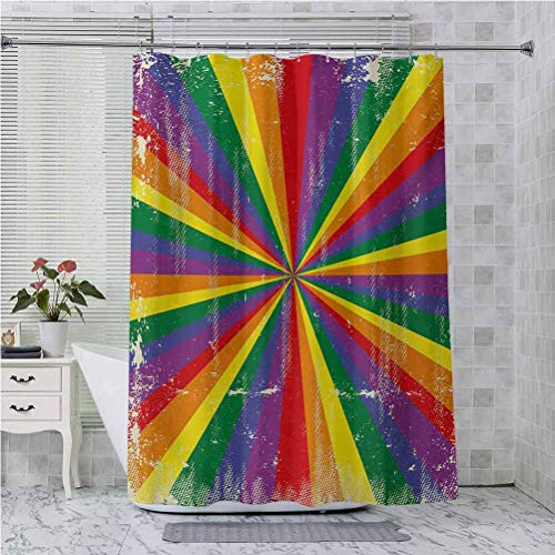Shower Curtain, Radial Vintage Style Scratched Backdrop for Homosexual Gay Lesbian Couples Print, 70 Inches Long Bathroom Accessories Decor, Multicolor
