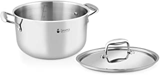 Shapes Stainless Steel Casserole - Triply Casserole with Lid, Capacity - 6.3 Quart - Silver - Use for Home, Kitchen and Re...
