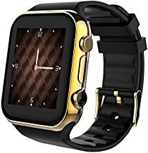Scinex SW20 Smart Watch for Android and iPhone with 16GB Memory, Pedometer Smartwatch for Men & Women, Sleep Monitor Watch, Compatible with Cell Phone, Warranty Included (Black/Gold)