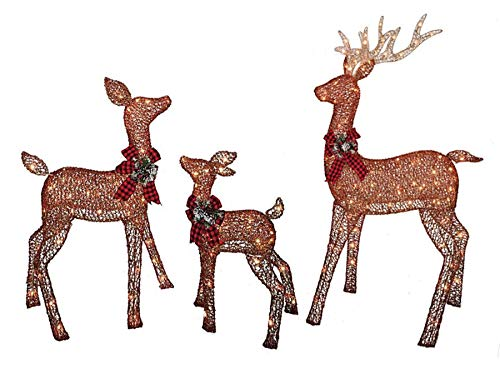 Christmas Reindeer Family 3 Piece Set, Glittering Brown Buck, Doe and Baby Deer Fawn Patio Sculpture for Outdoor Winter Holiday Lawn Decoration Yard Art Santas Reindeer
