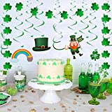 YIHONG St. Patrick's Day Decorations Set, 30 Pieces Lucky Irish Green Shamrock Foil Swirl String Hanging Decoration for Home Office Theme Party Decor
