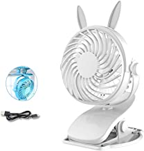 YXZQ Handheld Fan, Small Table USB Fan Clip-on Personal with 3 Speeds 360° Rotatable Desktop/Clip Type 2 in 1 Colorful Lig...