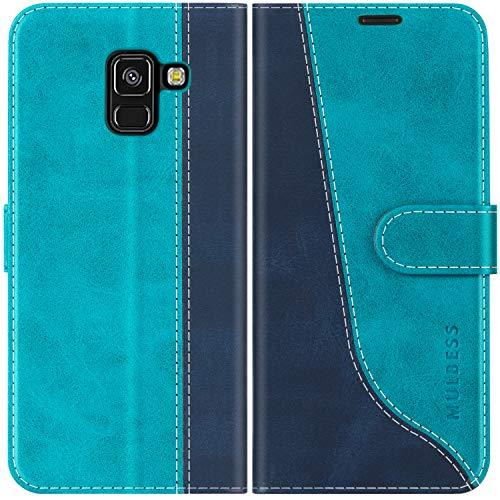 Mulbess Custodia per Samsung A8 2018, Cover Samsung A8 2018 Libro, Custodia Samsung Galaxy A8 2018 Pelle, Flip Cover per Samsung Galaxy A8 2018 Portafoglio, Blu Mint
