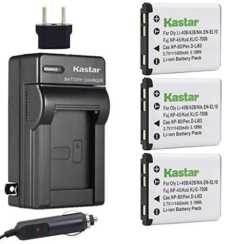 Kastar Battery 3x and Charger for Kodak KLIC-7006,...