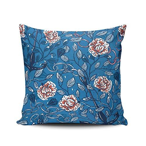 Funda de Almohada Floral Vintage Rosas Anclas y Cadenas Funda de Almohada Decorativa Funda de cojín Cuadrado para decoración del hogar Sofá Dormitorio