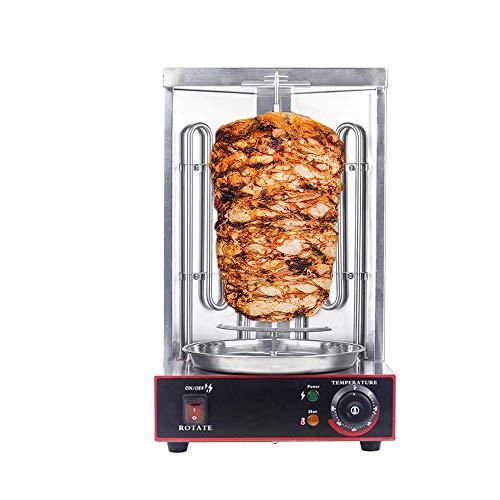 Edelstahl Elektro-Tischgrill 360° Elektrogrill BBQ Vertikalgrill Rundgrill für Schaschlik-, Fleisch-, Garnelen-, Gyrosspieße Dreh-Grill 3000W, Edelstahl, Küchen grill zubehör