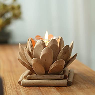 Anthree Lotus Candle Holder, Wooden Tealight Holders Handmade Ornaments Votive Holder Pastoral Creative Gifts