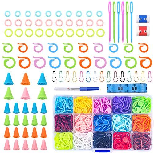 401 piezas de herramientas de costura de plástico con cajas, colores variados para hacer estiramientos y ganchillo accesorios incluidos de almohadillas protectoras, plástico Seam Ripper
