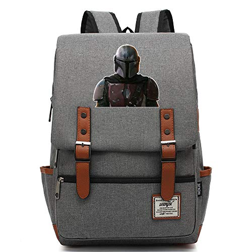 Star Mandalorian Print Rucksack, Outdoor Oxford College School Backpack, Fits 15'' Tablet, Water Resistent 14 inch. Color-15.