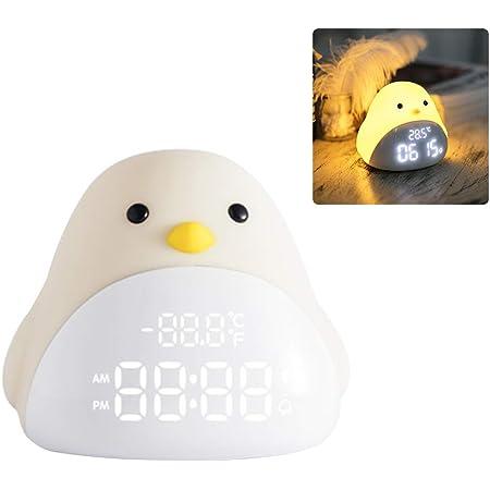 Grokebo 目覚まし時計ライト ベッドサイドランプ 目覚まし時計 アラーム USB充電器付き ひよこ LED数字表示 目覚まし時計 ベッドサイド時計 インテリジェントナイトライト 目覚ましライト LEDナイトライト 子供用目覚まし時計 プレゼント