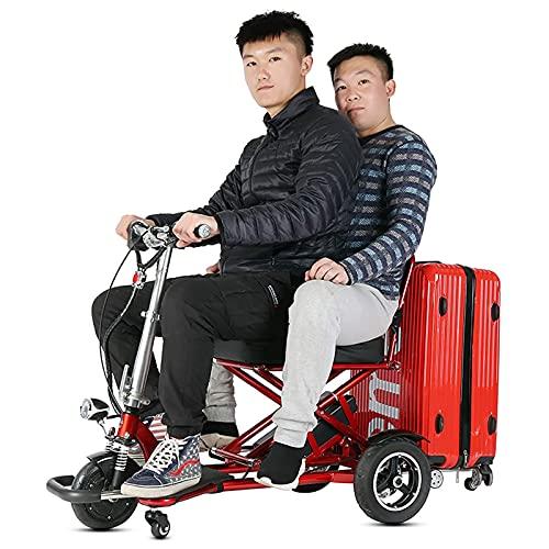 SUYUDD Scooter Mobility Scooter De Movilidad Eléctrico Plegable De 3 Ruedas Scooters De Viaje Eléctricos Portátiles Ligeros - Soporte 300 Libras De Peso Batería Dual