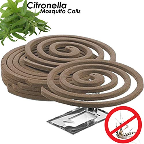 W4W Citronella Mosquito Repellent Coils - Outdoor Use Reaches Up to 10 feet - Each Coil Burns for 5-7 Hours (Three Pack Contains 12 coils & 6 Coil Stands)