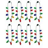 Windy City Novelties 20 Pack   LED Light Up Christmas Bulb Necklace Party Favors