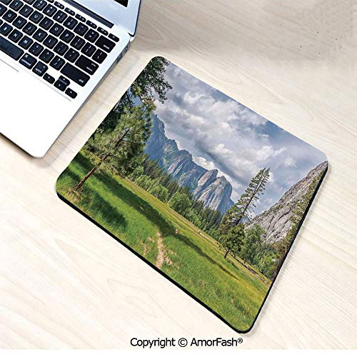 Heat Transferred Printing Waterproof Keyboard Pad,Mouse Mat for Gamer,Office & Home,11'x13.8',Yosemite,Yosemite Valley Meadows with Trees Fluffy Clouds Cliff Tourist Attraction Picture,Grey Green