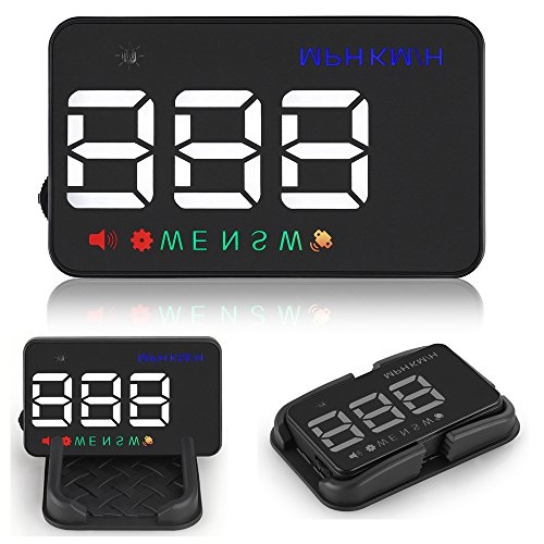Car HUD GPS Speedometer for All Vehicle, XYCING Head Up Display MPH Speed Digital Compass Over Speed Alarm, 3.5 inch Windshield Projector LED Display with Universal Car Cigarette Lighter Port Charger