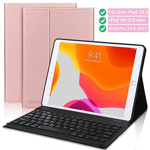 Newest iPad 7th Gen Keyboard Case 10.2 2019- iPad Air 3 Keyboard case- iPad 10.5 Keyboard- Detachable Wireless Bluetooth Keyboard- iPad Case with Keyboard for iPad 10.2 Inch 10.5 Inch–Rose Gold