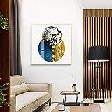 YAOSHIBIAN Post-Modern Abstract Geometric Pattern, Aluminum Alloy Gold Frame, Reinforced Rear Panel, High-Definition Inkjet Process, Plexiglass Dustproof, Interior Painting, (Size : 7070cm)