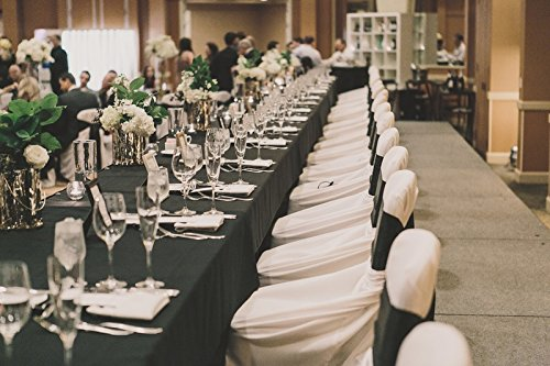 SPRINGROSE 60 x 126 Inch Black Polyester Rectangle Tablecloths (Pack of 10). Perfect for Any Occasion Including A Wedding.