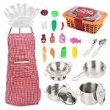 SUPER-ELE Pretend Play Toy with Stainless Steel Cookware,Kitchen Accessories Pots and Pans,Utensils, Apron and Chef Hat,Play Cooking Set for Toddlers, Boys and Girls 2 3 4 5 + Years Old 24Pcs