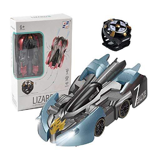 N\C Mini 2.4G pared escalada coche control remoto coche sonido y luz reloj control remoto recargable escalada truco coche juguete coche 9902L negro