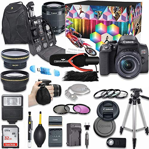 Canon EOS Rebel T8i DSLR Camera Deluxe Video Creator Kit with Canon EF-S 18-55mm f/4-5.6 is STM Lens + Wide Angle & Telephoto Lens + SanDisk 32GB Memory Card + Commander Optics Accessory Bundle