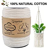 cyrico Macrame Cord 4mm x 191 Yards, 100% Natural Unbleached Cotton Macrame Rope - 3 Strands Twisted Macrame Cotton Cord for Wall Hangings, Plant Hangers, Gift Wrapping and Wedding Decorations