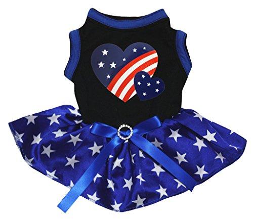 petitebelle Puppy Kleidung Hund Kleid America Twin Heart schwarz Top-Stars blau Tutu