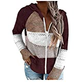 WOCACHI Women 2020 Fall Winter Hoodies Patchwork Color Block V Neck Knit Hooded Sweater Loose Hoodie Pullover Tops Best Gift Drawstring Casual Warm Comfortable Hooded Sweatshirts Outdoor