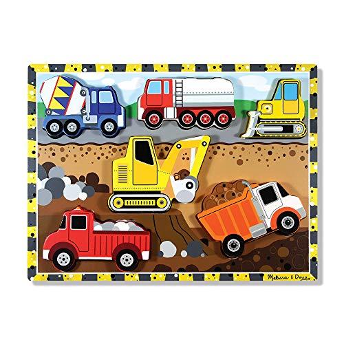 Melissa & Doug Construction Vehicles Wooden Chunky Puzzle (6 pcs)