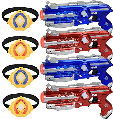 Click N' Play Multiplayer Infrared Laser Guns & Armbands, Laser Tag Shooting Game Set, Indoor & Outdoor Team Activity - Set of 4