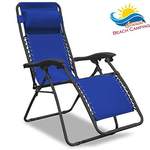 Bakaji - Silla de relax, tumbona plegable de exterior para jardín o camping, con reposapies y reposacabezas, acolchado con cojín. Color azul