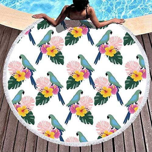 Knowikonwn Parrots - Toalla de playa redonda grande de microfibra, toalla de playa de secado rápido, 59 pulgadas para yoga, Blanco, 59 inch