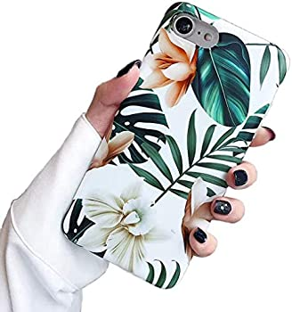SUBESKING Compatible iPhone 6 Case/iPhone 6s Case,Cute Slim Fit Soft TPU White Floral and Green Leaves Pattern Protective Phone Cover Cases for Women Girls  White Flowers