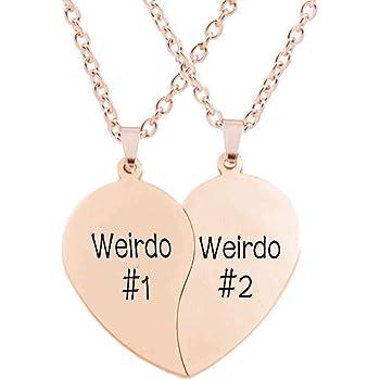 MJartoria BFF//Couple Necklaces for 2-Mines Yours Split Valentine Heart Best Friends Engraved Pendant Friendship Necklace Set of 2