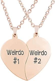 Best Friend Necklaces BFF Necklace for 2 Friendship Valentines Day Gift Split Heart Weirdo 1 Weirdo 2 Best Friends Forever Pendant Set