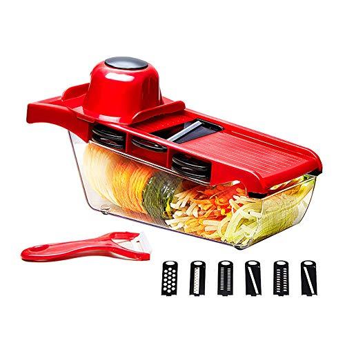 Gemüseschneider Spiralschneider, Gemüseschneider elektrisch, Mandolinenreibe und Aufschnittmaschine zum Schneiden von Kartoffeln usw. 6 Klingen