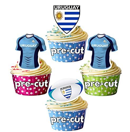 AK Giftshop PRECUT Rugby Shirt Ball Vlag Team Uruguay - Eetbare Cupcake Toppers/Cake Decoraties (Pak van 12)