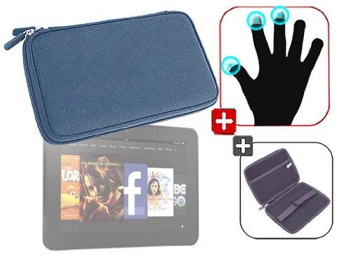 """DURAGADGET Housse étui résistant en EVA Rigide Bleu + Gants capacitifs conducteurs Taille M (Moyen) pour Nouvelle Tablette Kindle Fire 7"""" d'Amazon – G"""