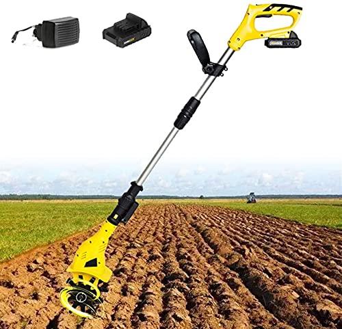 WSVULLD Cultivador y rotavador sin Cable, Tiller de jardín, Paquete de baterías de Iones de Litio (20V 4AH), Profundidad 16 cm Ancho de Trabajo 10 cm, 2 Cuchillas endurecidas Que Trabajan, el