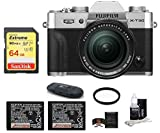 FUJIFILM X-T30 Mirrorless Digital Camera (with XF 18-55mm Lens Spare Battery Bundle, Silver)