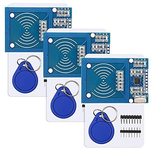 YXPCARS 3 x RFID Kit für Arduino für Raspberry Pi, RF IC Reader Sensor Modul + S50 Karte + RFID Chips mit 13,56 MHz Transponder (Packung mit 3)