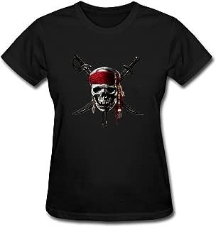 Zelura Women's Jack Sparrow T-shirts Black