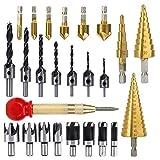 LINGSFIRE Set di punte per trapano svasatore da 26 pezzi, include 8 taglierina per spine, 7 punte per trapano a tre punte, 6 punte per trapano svasatore, punta per trapano a cono a 3 fasi