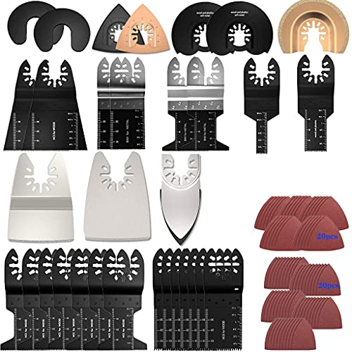 72Stk Oszillierendes Sägeblätter Set, Oszillierwerkzeug Multifunktionswerkzeug Oszillierende Zubehör Kit für Fein Multimaster Multitool Dremel Makita Einhell
