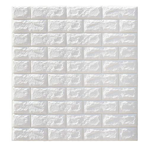 VORCOOL 3D Pegatinas de Pared de ladrillo Autoadhesivas Panel Decal Wallpaper para Paredes de TV sofá de Fondo decoración de la Pared (Blanco) - 70x77cm
