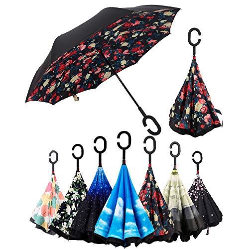 Paraguas Invertido,Plegable,reversible,con mango en forma de C invertida Paraguas de doble capa...