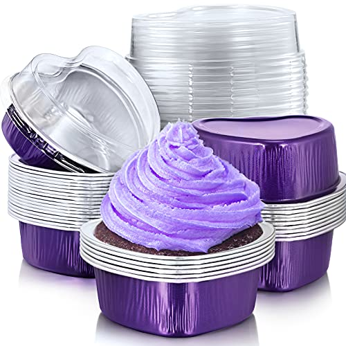 Aluminum Foil Cake Pan Heart Shaped Cupcake Cup with Lids 100 ml/ 3.4 ounces Disposable Mini Baking Cups Pan with Lid for Valentine Mother's Day Wedding Christmas Birthday (40, Purple)